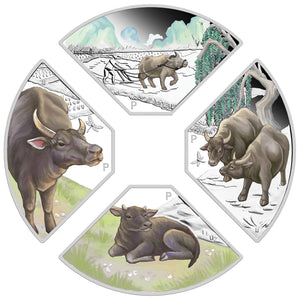 2021 $1 Year of the Ox Quadrant 1oz Silver 4-Coin Set