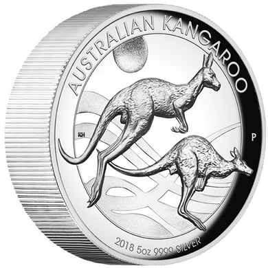 2018 $8 Kangaroo High Relief 5oz Silver Proof Coin