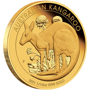 2021 $15 Kangaroo 1/10oz Gold Proof Coin