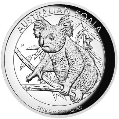 2018 $8 Koala High Relief 5oz Silver Proof Coin