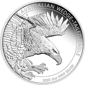 2020 $2 Wedge-Tailed Eagle 2oz Silver Proof Piedfort Coin