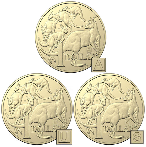 2019 $1 Mob of Roos 'A, U, S' Privymark Trio Unc