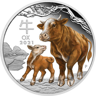 2021 $1 Year of the Ox Coloured 1oz Silver Proof