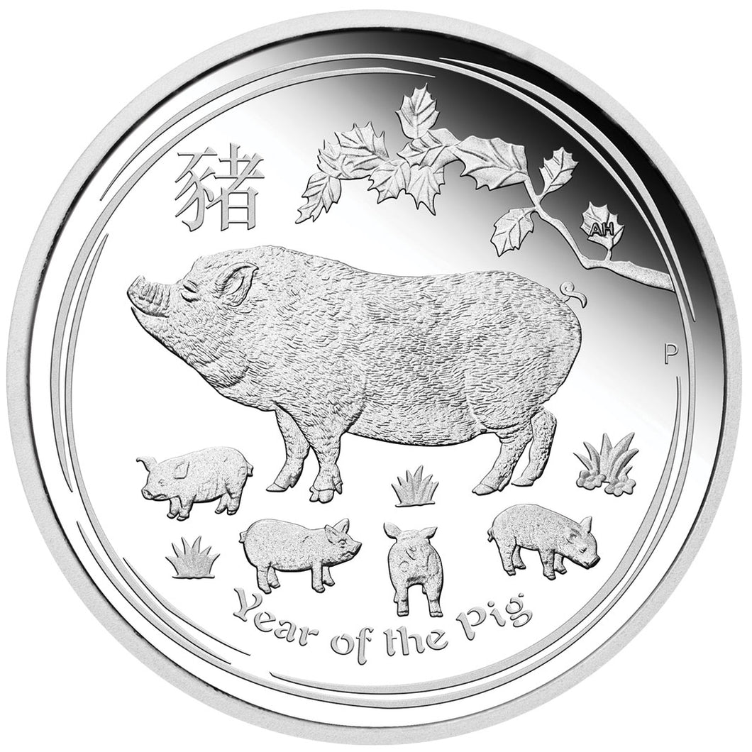 2019 $1 Year of the Pig 1oz Silver Proof Coin