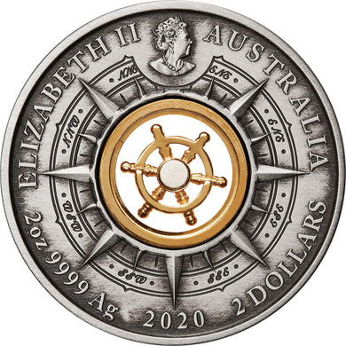 2020 $2 Voyage of Discovery Endeavour 2oz Silver Antiqued Coin
