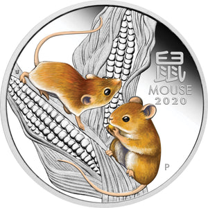 2020 $1 Year of the Mouse Colour 1oz Silver Proof