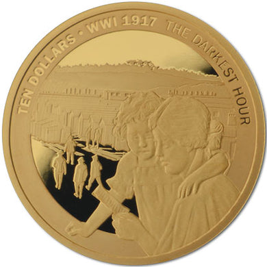 2017 NZ $10 1917 The Darkest hour 1/4oz Gold Proof Coin