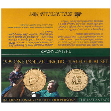 1999 $1 Older Persons & Anzac Two-coin Set