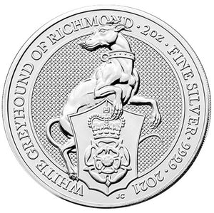 2020 UK £5 Queen's Beasts - Greyhound of Richmond 2oz Silver BU