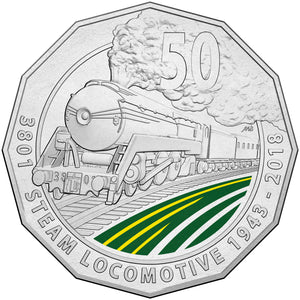 2018 50c 3801 Steam Train Unc