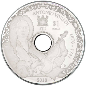 2018 Fiji $1 Vivaldi Playable CD Silver Coin
