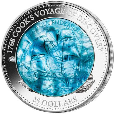 2018 Solomon Isl. $25 Captain Cook's Voyage Mother of Pearl 5oz Silver Proof