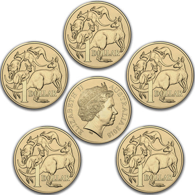 2018 $1 Mob of Roos Unc x 5 coins