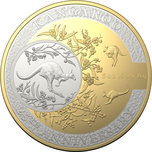 2018 $10 25th Anniv. Kangaroo 5oz Selectively Gold-plated Proof Coin