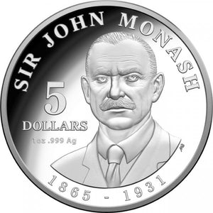 2018 $5 Sir John Monash Silver Proof Coin