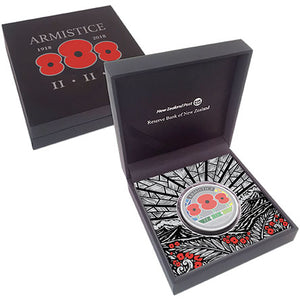 2018 NZ $1 Armistice Three Poppies 1oz Silver Proof