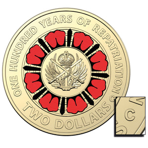 2019 $2 ANZAC Day Repatriation 'C' Mintmark Unc