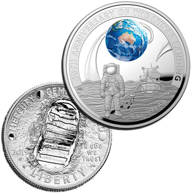 2019 $5/50c Australia/USA Moon Landing Proof Pair