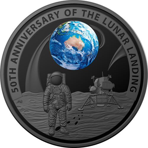 2019 $5 Moon Landing Ni-plated 1oz Silver Proof