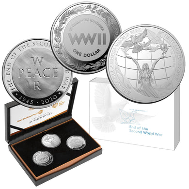 2020 75th Anniv. of the End of WWII 3-coin Silver Proof Set