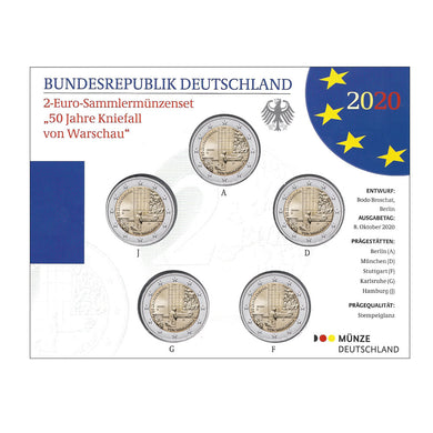 2020 Germany 2€ Kneeling of Warsaw Mintmark Collection Unc Pack