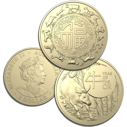 2021 $1 Lunar Ox Two Coin Unc Set