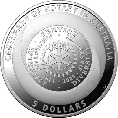 2021 $5 Centenary of Rotary Silver Proof Coin