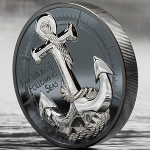 2019 Cook Isl. $10 Anchor - Fair Winds Black Silver Proof