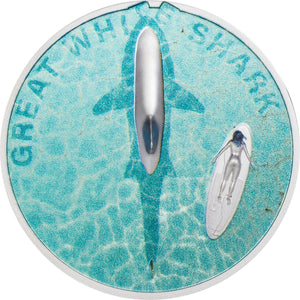 2021 Palau $5 Great White Shark 1oz Silver Proof