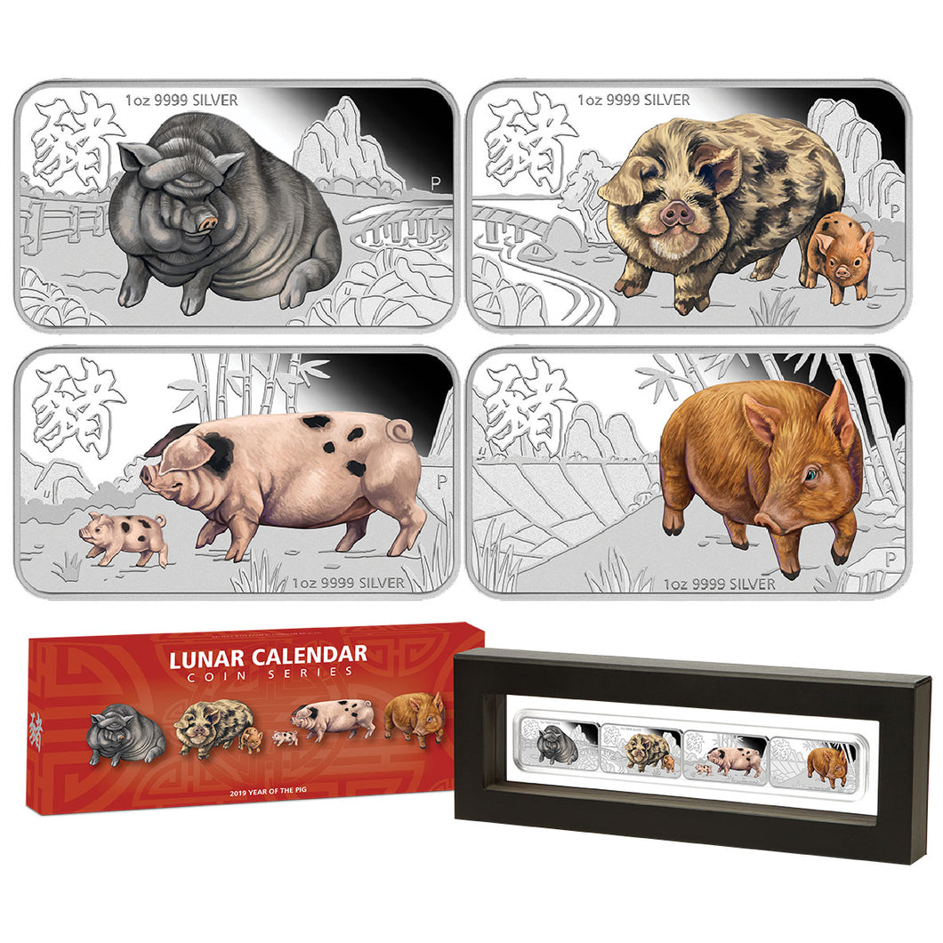 2019 Tuvalu $1 Year of the Pig 1oz Silver Proof Four-Coin Set