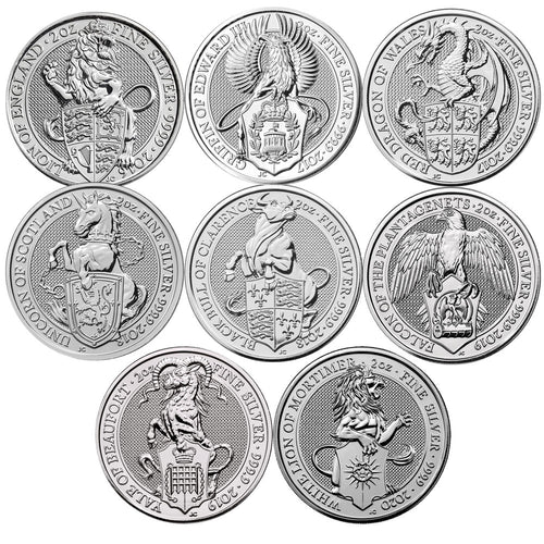 2016-2020 £5 Queens Beasts 2oz Silver BU Set (8 coins)