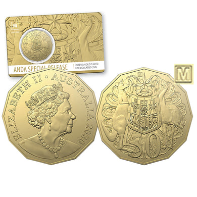 2020 50c Melbourne ANDA 'M' Privymark Gold Plated BU