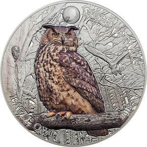 2018 Cook Isl $5 Eagle Owl 1oz Silver Coin