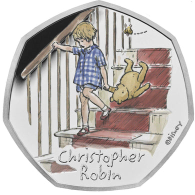 2020 UK 50p Winnie the Pooh - Christopher Robin Silver Proof