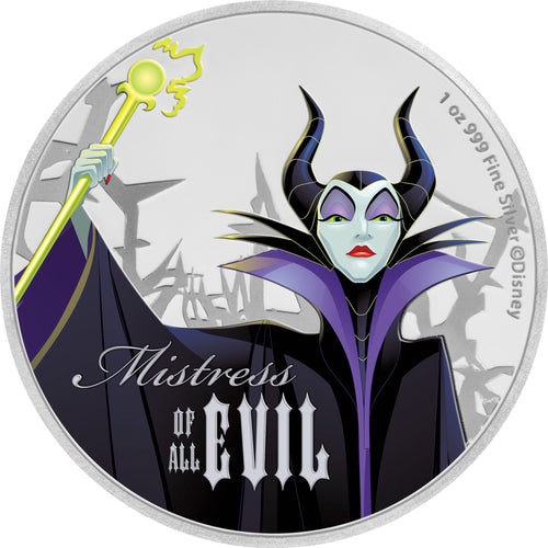 2018 Niue $2 Disney Villains - Maleficent 1oz Silver Proof