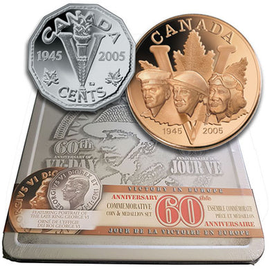 2005 Canada 5c VE Day Silver Proof & Medallion Set