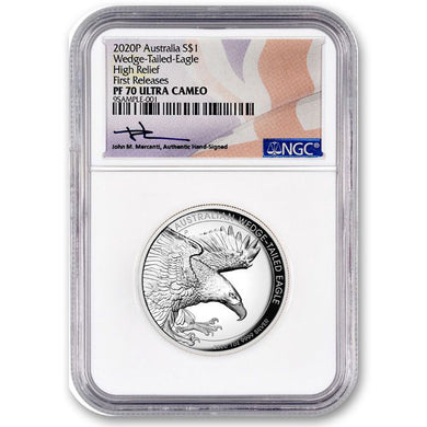 2020 $1 Wedge-Tailed Eagle High Relief 1oz Silver PF70 w/Signed Certification