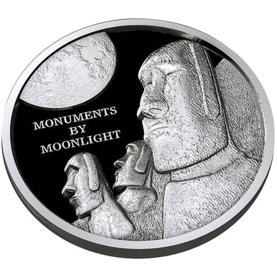 2019 Fiji $1 Monuments by Moonlight - Easter Island High Relief 1oz Silver Coin