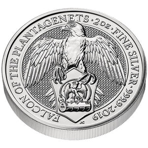 2019 UK £5 Queen's Beasts Falcon 2oz Silver BU