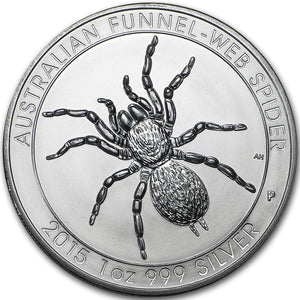 2015 $1 Funnel Web Spider 1oz Silver BU