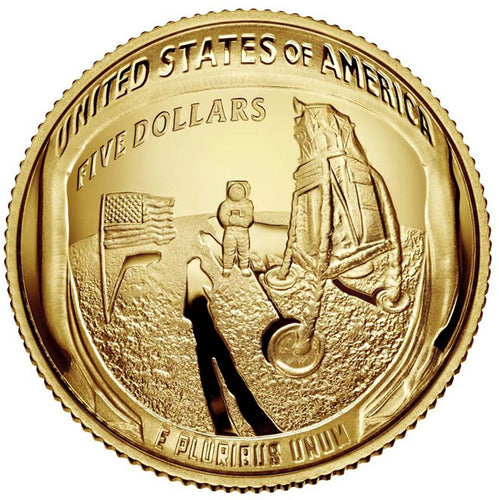 2019 USA $5 Apollo 11 Moon Landing 1/4oz Gold Proof