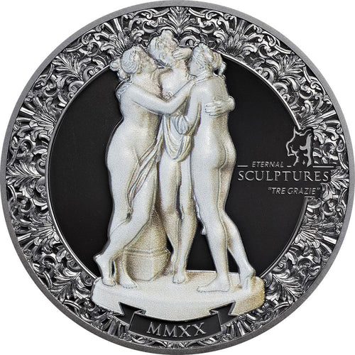 2020 Palau $10 Three Graces Eternal Sculptures 2oz Silver Coin