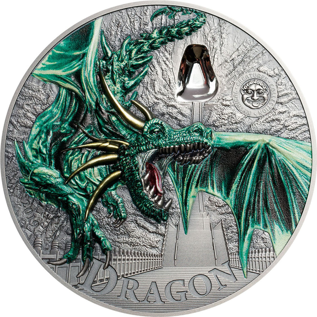 2019 Palau $10 Green Dragon 2oz Silver Coin