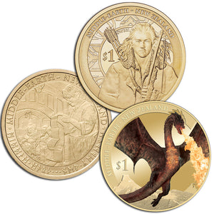2012-2014 NZ $1 The Hobbit BU Coin Trio
