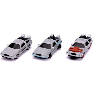 Back to the Future Delorean Hollywood Rides - Nano Die Cast Vehicle 3-pack