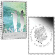 2015 $2/70c ANZAC New Zealand & Australia Stamp-Shaped 1oz Silver Proof Pair