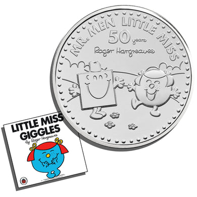 2021 UK £5 Mr Men - Mr Strong & Little Miss Giggles BU w/FREE Miss Giggles Book
