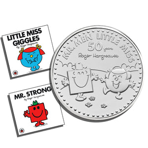 2021 UK £5 Mr Men - Mr Strong & Little Miss Giggles BU w/ TWO Books