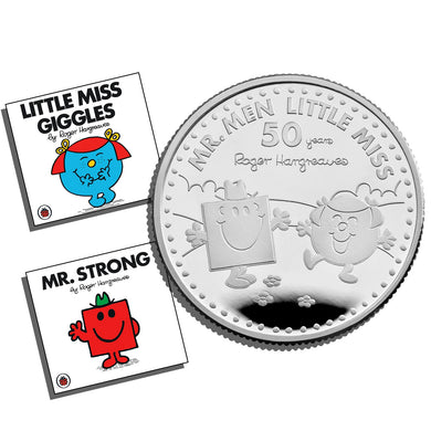 2021 UK £1 Mr Men - Mr Strong & Little Miss Giggles 1/2oz Silver Proof w/FREE Books
