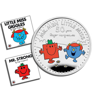 2021 UK £2 Mr Men - Mr Strong & Little Miss Giggles 1oz Silver Proof w/FREE Books